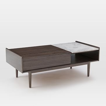 Mid-Century Pop Up Coffee Table, Dark Mineral/Marble