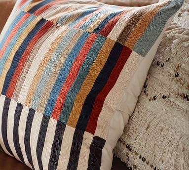 """Carson Crewel Stripe Pillow Cover, 24"""", Multi"""