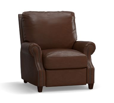 James Leather Recliner, Down Blend Wrapped Cushions, Legacy Chocolate