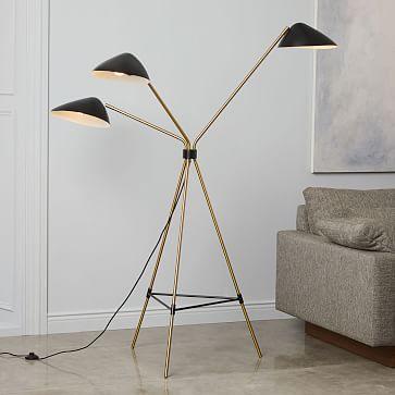 Curvilinear Mid-Century Floor Lamp, 3 Lighting, Black/Brass