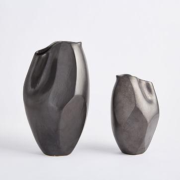 """Pinched Vase, Matte Black, 10"""" -individual"""