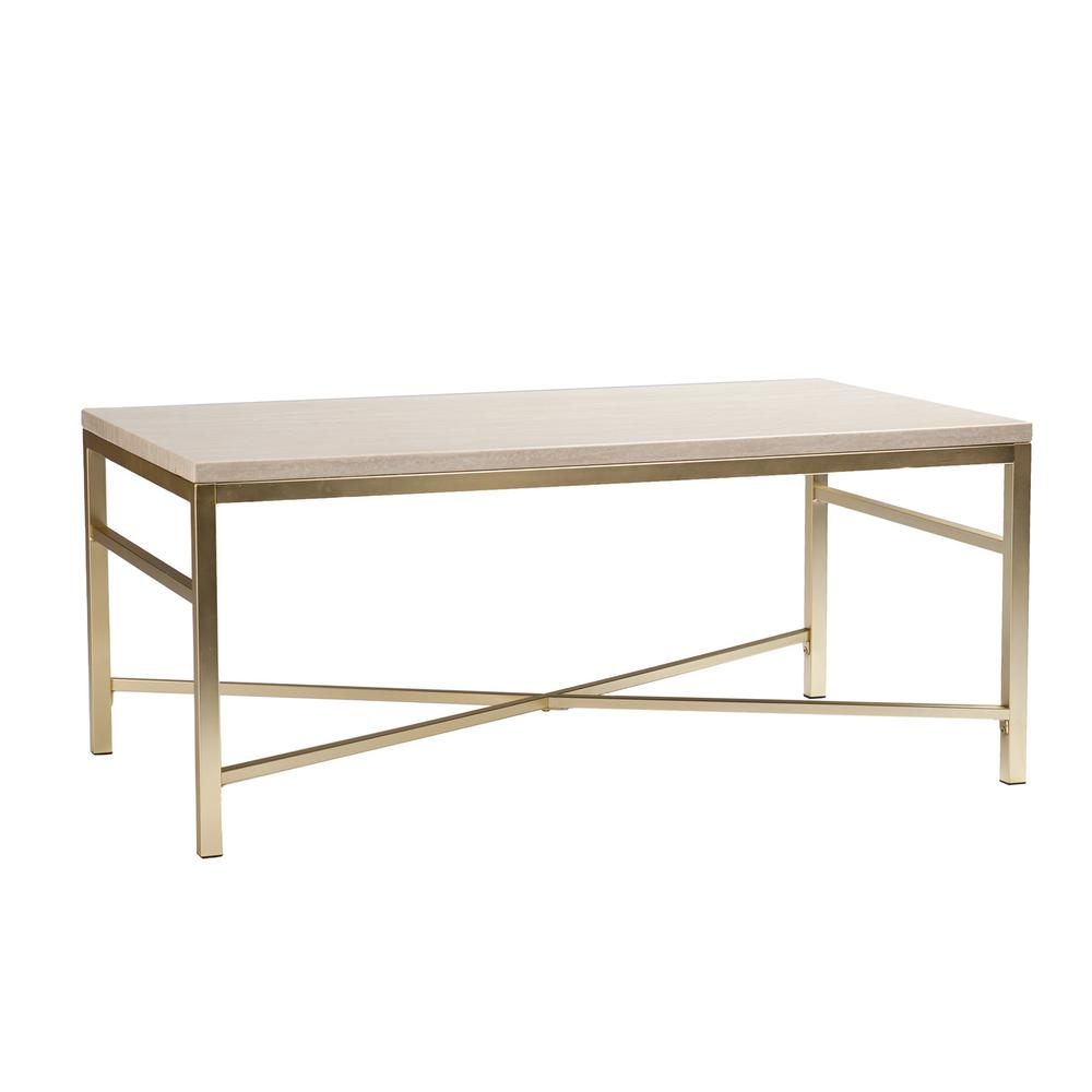 Jacque console table by crate and barrel havenly nellie faux travertine and matte brass coffee table faux travertine and matte brass finish geotapseo Gallery