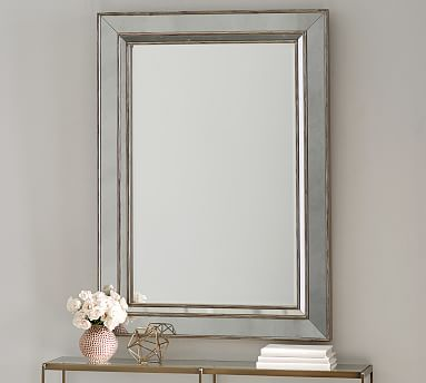 Marlena Antique Mirror Rectangle - Brushed Silver