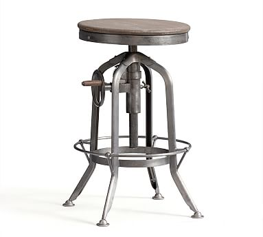 Pittsburgh Industrial Barstool with Crank Base, Adjustable Height
