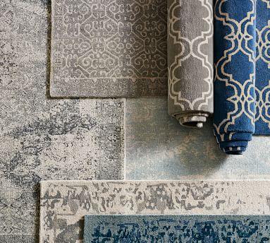 Bosworth Printed Wool Rug, 9x12', Blue