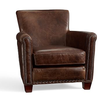 Irving Leather Armchair, Bronze Nailheads, Polyester Wrapped Cushions, Statesville Molasses
