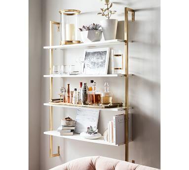 Olivia Wall Mounted Shelves, Brass