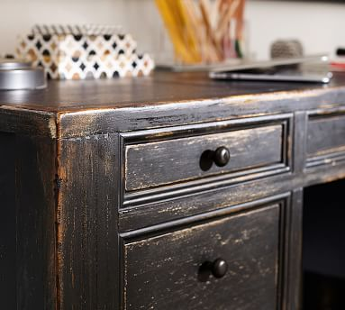 Dawson Wood Desk, Large, Weathered Black finish