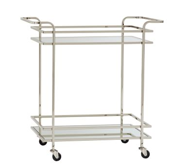 Skylar Bar Cart, Polished Nickel
