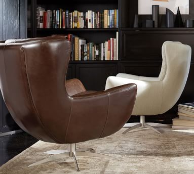 Wells Leather Swivel Armchair, Polyester Wrapped Cushions, Leather Vintage Caramel
