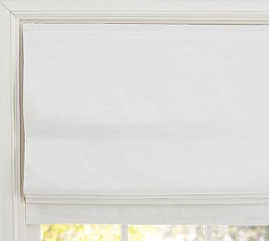 "Emery Linen/Cotton Cordless Roman Shade, 32 x 64"", White"