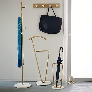 Deco Marble Umbrella Stand, Marble + Antique Brass