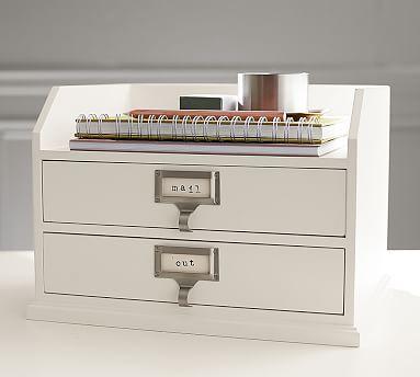 Bedford Two-Drawer Paper Organizer, Antique White