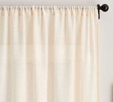 "Belgian Flax Linen Poletop Sheer Drape, 50 x 84"", Flax"