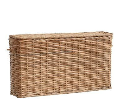 Aubrey Woven Oversized Narrow Rectangle Lidded Basket - Natural