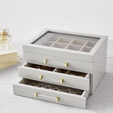 Elle Lacquer Jewelry Display Box, Gray/Gold