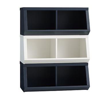 Double Market Bin w Divider, Charcoal, In-home