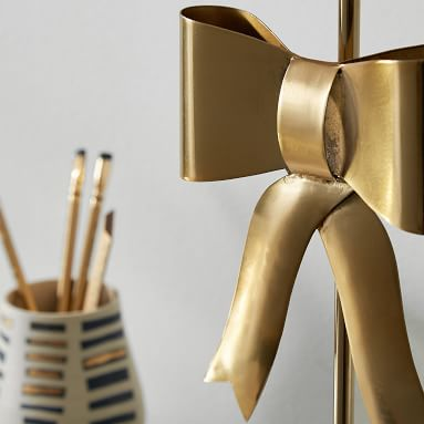 Emily and Meritt Bow Table Lamp, Gold/Black