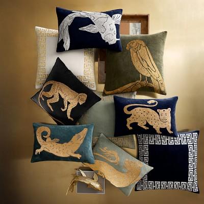 """Tibetan Tiger Velvet Pillow Cover, 14"""" X 22"""", Navy/Gold"""