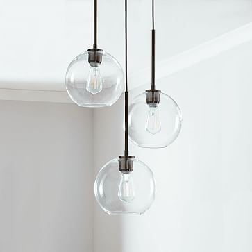 Sculptural Glass 3-Light Round Globe Chandelier, Small Globe, Silver Ombre Shade, Bronze Canopy
