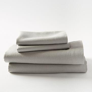 Organic Double Cloth Arrow Blanket, Queen, Frost Gray