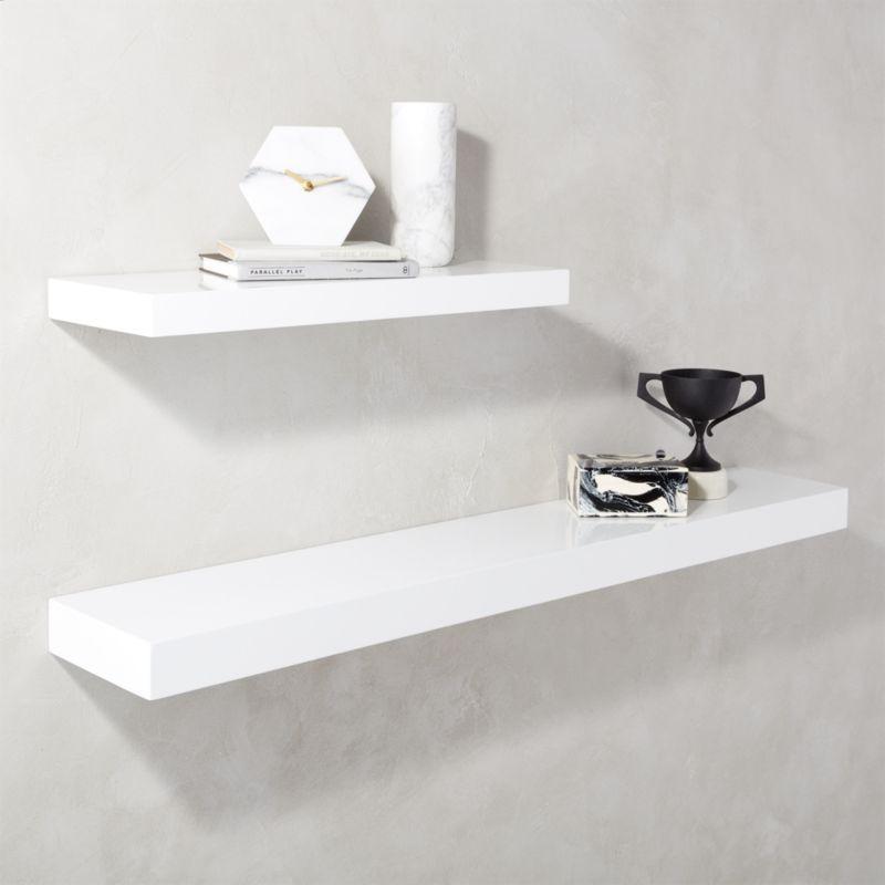 """Calvin Hi-Gloss White Floating Shelf 24"""""""