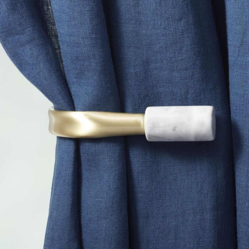 """Brass with White Marble Curtain Rod Set 48""""-88""""x1""""dia."""