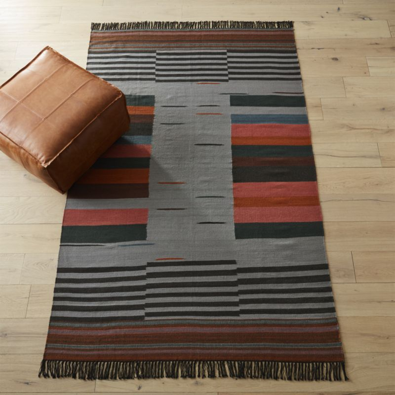 Gradient Grey Wool Rug 6'x9'