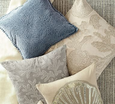 "Chenille Jacquard Pillow Cover, 20"", Light Blue"