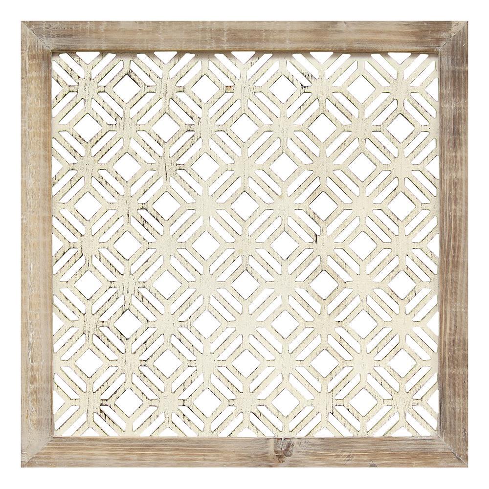 16 in. x 16 in. Stratton Home Decor Framed Laser-Cut Wall Decor