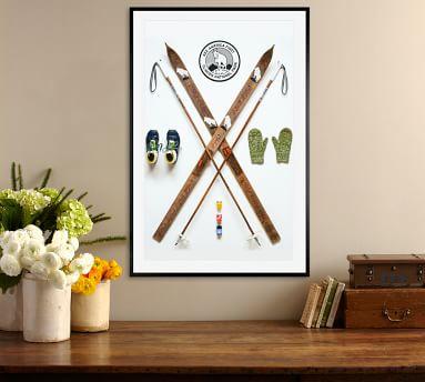 Nordic Ski Art Print Field Guide Designs 16X20 Wood Gallery Espresso Mat
