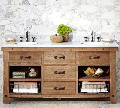 Benchwright Double Sink Vanity, Wax Pine Finish