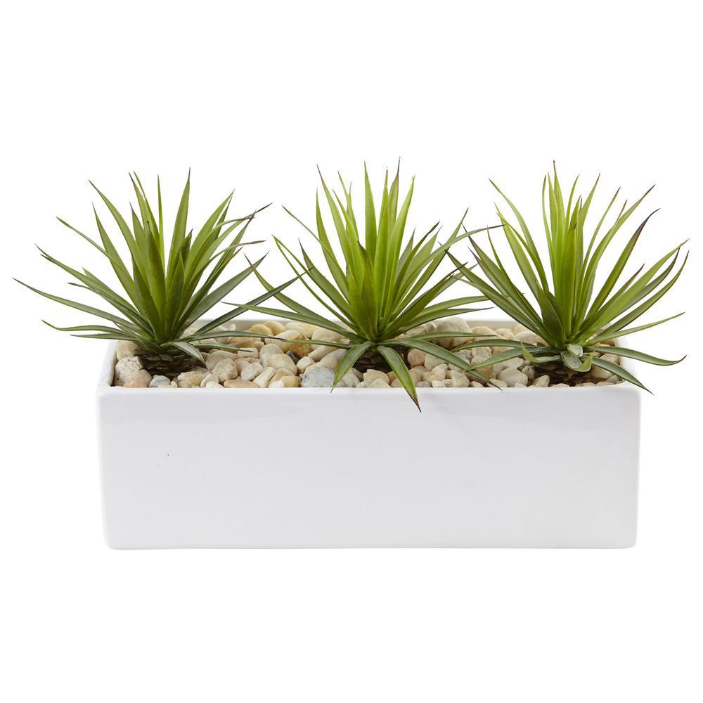 Indoor Mini Agave Artificial Plant in Rectangular Ceramic