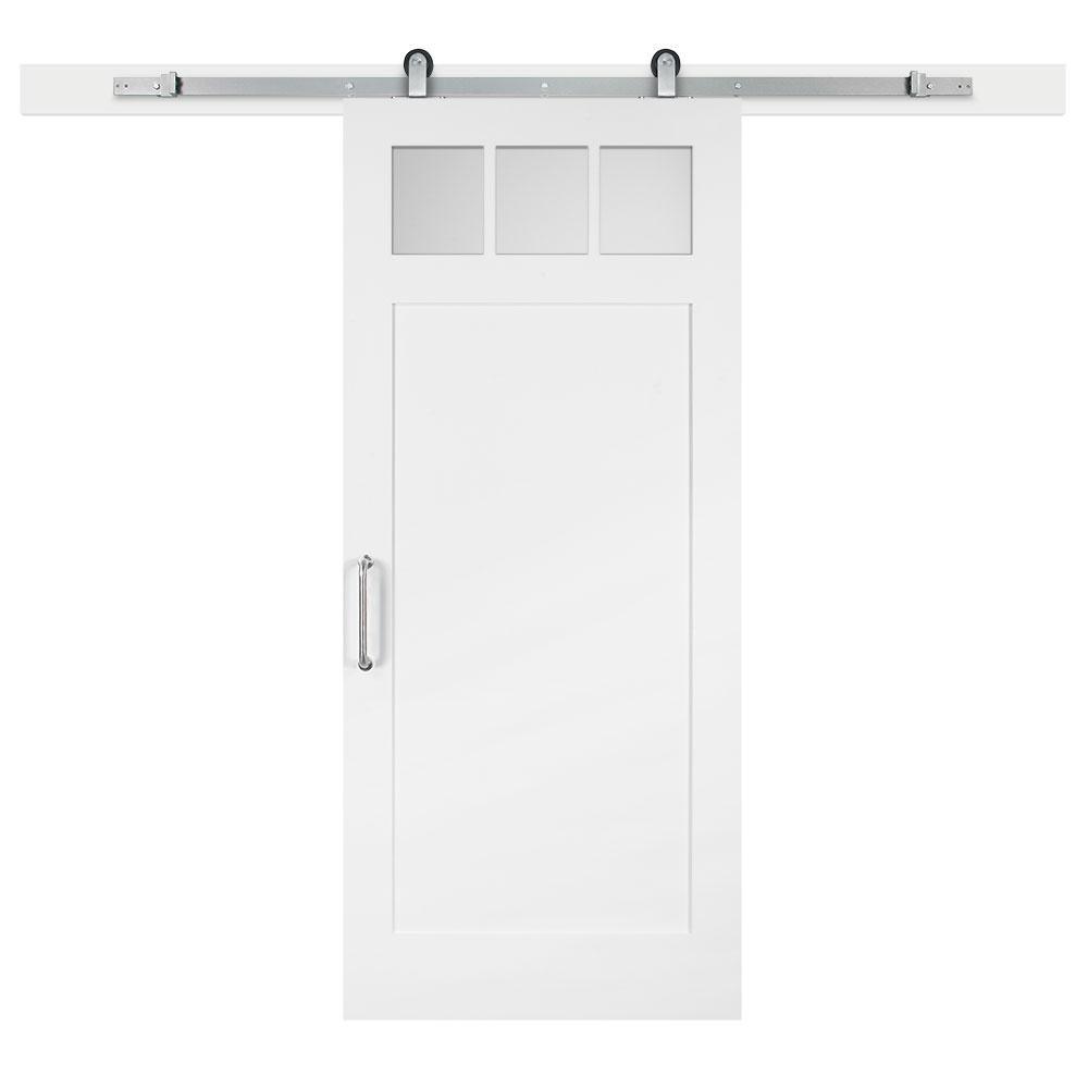 Jeff Lewis 36 in. x 84 in. White Collar Craftsman 3-Lite Clear Solid-Core MDF Barn Door with Sliding Door Hardware Kit
