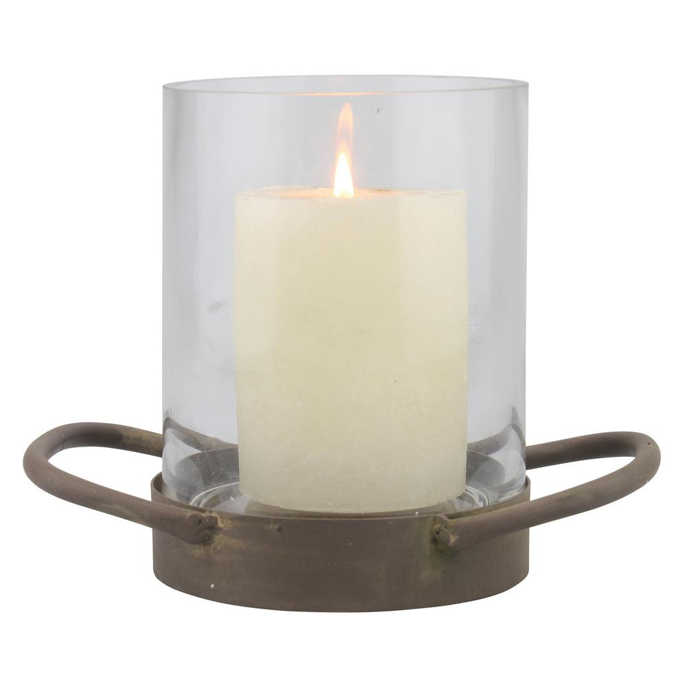 6.5 in. Brown Glass Hurricane Candle Holder, Brown/Tan
