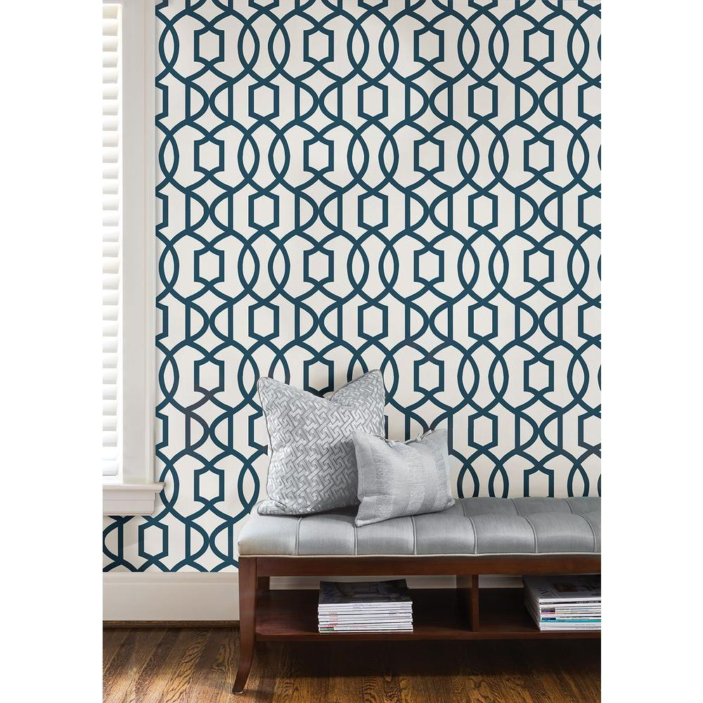 Navy Grand Trellis Peel And Stick Wallpaper Sample Blues Home Depot