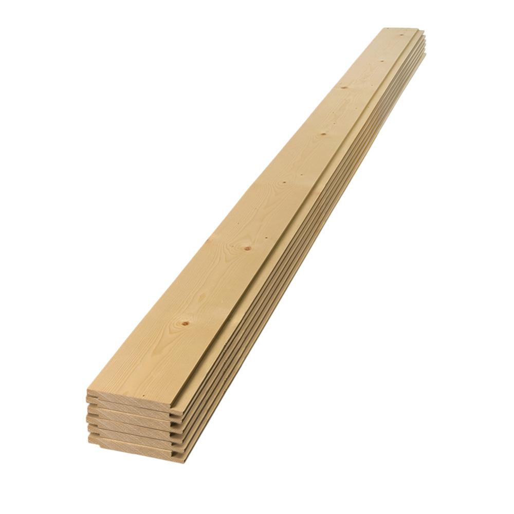 1 in. x 8 in. x 8 ft. Square Edge Pine Shiplap Board (6-Pack), Wood