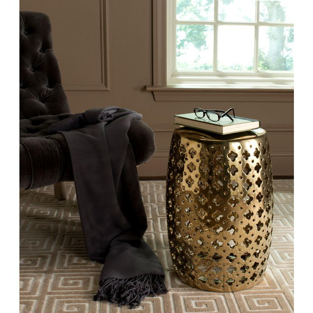 Safavieh Lacey Plated Gold Patio Stool
