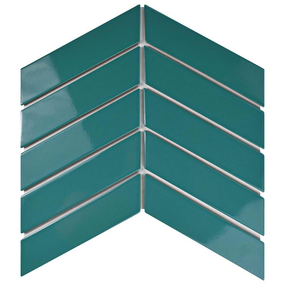 Merola Tile Metro Soho Chevron Teal 1-3/4 in. x 7 in. Porcelain Floor and Wall Tile (1 sq. ft. / pack), Blue/High Sheen