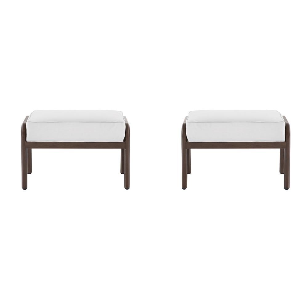 Hampton Bay Walton Springs Dark Brown Aluminum Outdoor Ottoman with Cushions Included, Choose Your Own Color (2-Pack)