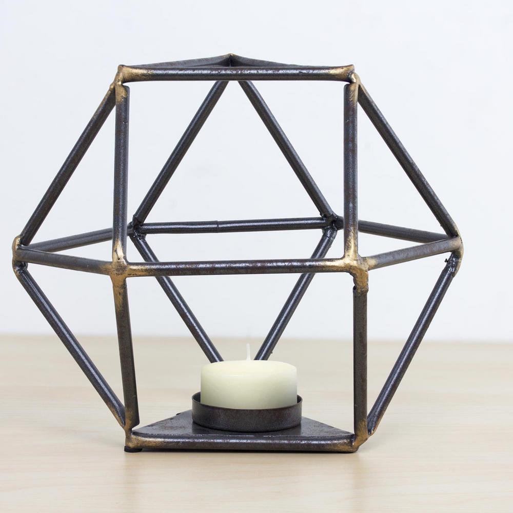 Geometric Metal Candle Holder, Gray