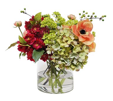 Faux Mix Ranunculus & Anemone in Glass Vase