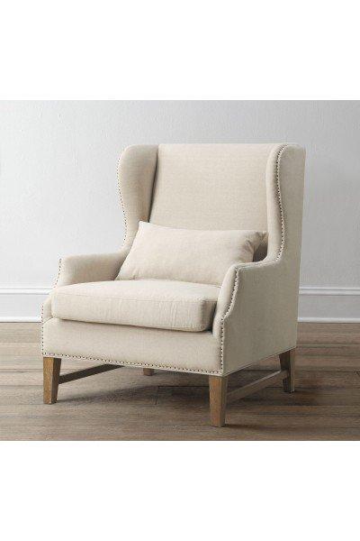 Daphne Beige Linen Wing Chair