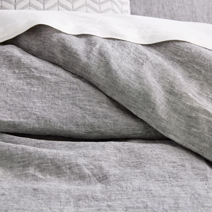 Belgian Flax Linen Melange Duvet Cover, Full/Queen, Slate