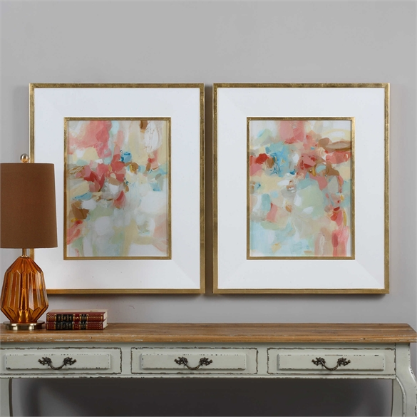 A Touch of Blush and Rosewood Fences - 28 W X 34 H (in) - Gold Frame with Mat