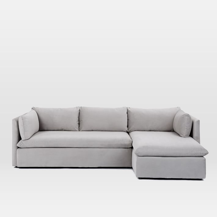 Shelter 2-Piece Chaise Sectional - Dove Gray -Left Arm Sofa Right Arm Chaise