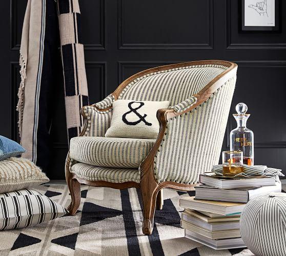 The Emily & Meritt Bergere Upholstered Armchair, Vintage Stripe Black/Ivory