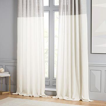 "Belgian Flax Linen Contrast Stripe Curtain, Stone White/Slate, 48""x96"""