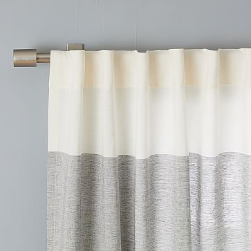 "Belgian Linen Contrast Stripe Curtain, Stone White/Slate, 48""x108"""