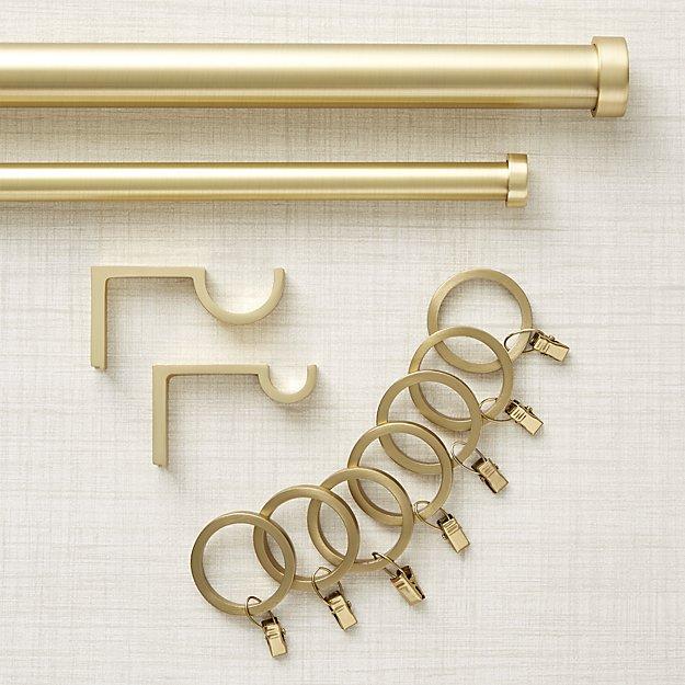"Brushed Brass Curtain Hardware 120""- 170"""